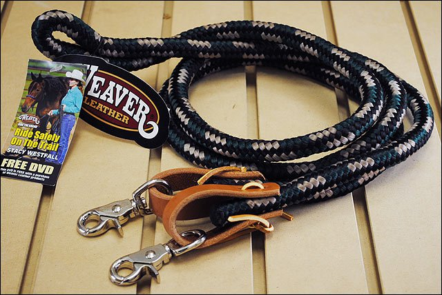 BLACK HUNTER GREEN 8ft WEAVER HORSE POLY ROPING REINS W/ LEATHER LACES LOOP ENDS