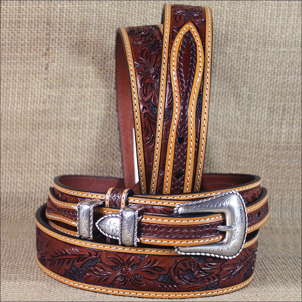 "44 X 1 3/8"" 3D FLORAL TAN MENS WESTERN FASHION RANGER LEATHER BELT SILVER BUCKLE"