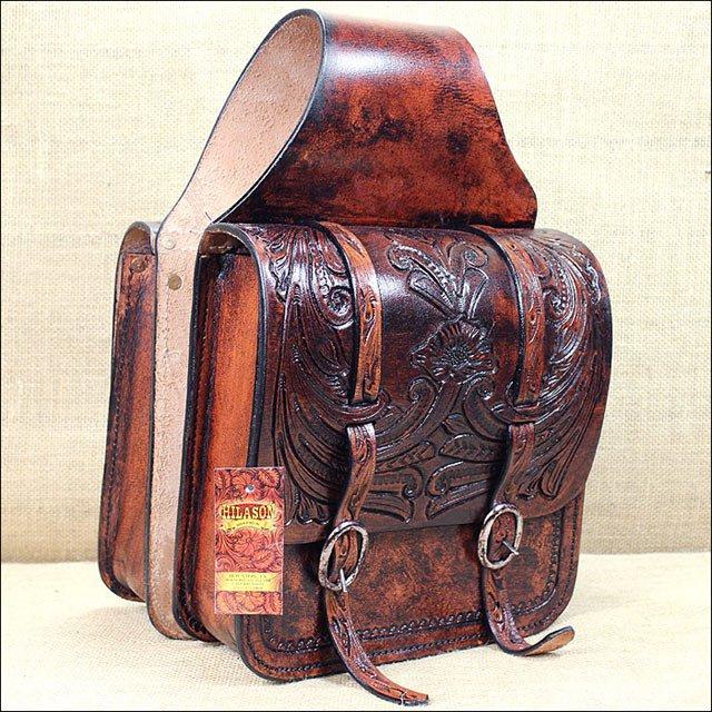 BG108AMF- HILASON WESTERN COWBOY TRAIL RIDE HORSE SADDLE BAG MAHOGANY