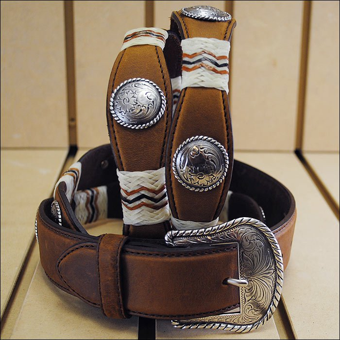 TONY LAMA BUCKAROO RAWHIDE CONCHO WESTERN LEATHER MAN'S BELT BROWN