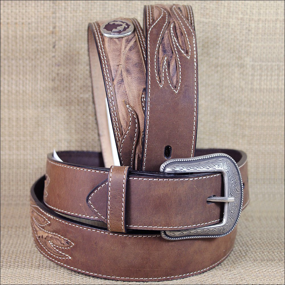 "46x1 1/2"" 3D BROWN MENS WESTERN FASHION CONCHO LEATHER BELT REMOVABLE BUCKLE"