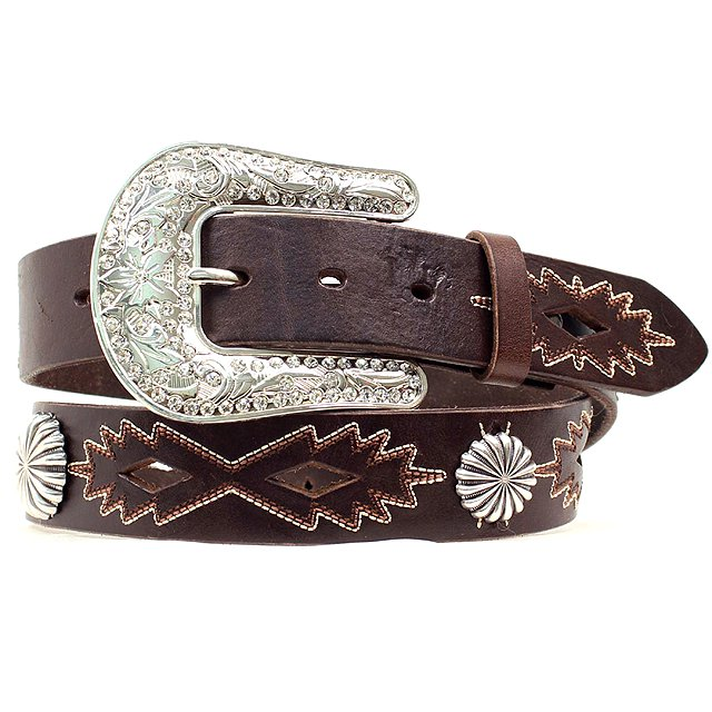 """X LARGE 1 1/2"""" M&F WESTERN BROWN LEATHER CONCHO NOCONA BELT W/ FLORAL BUCKLE"""