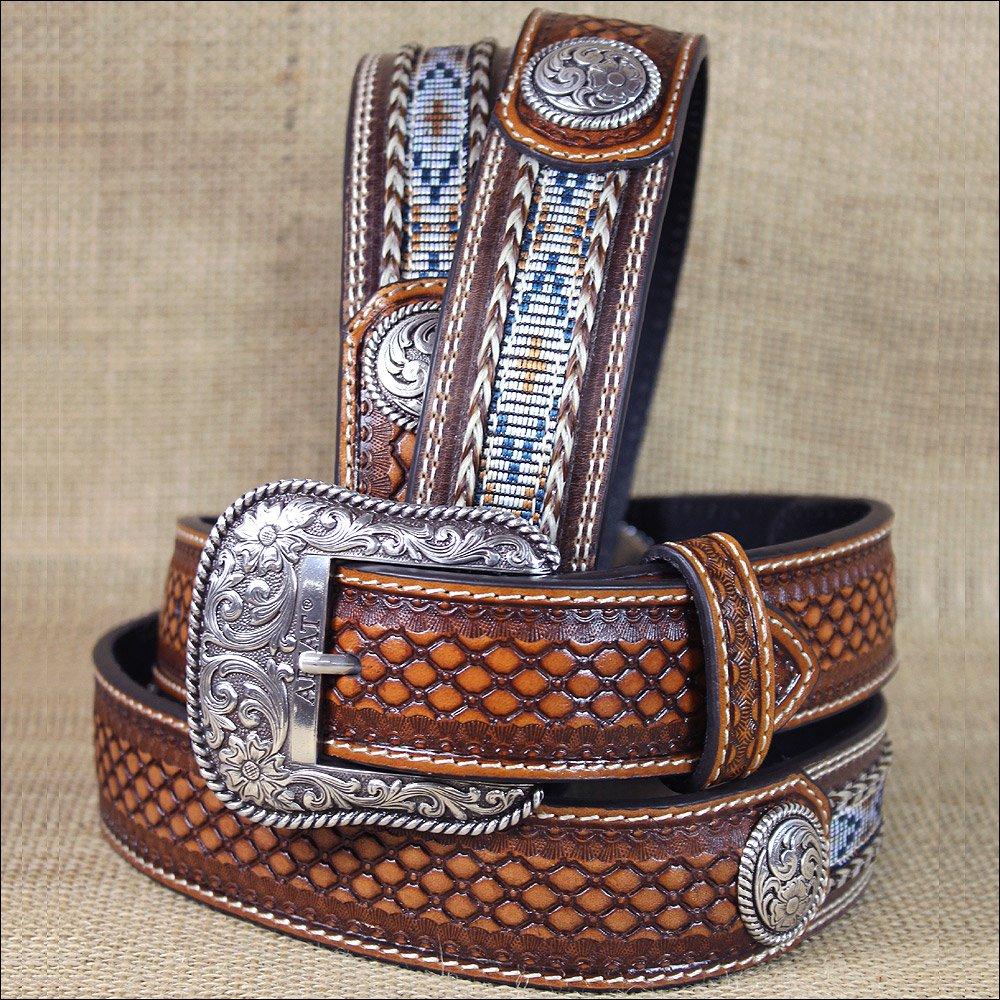 40 INCH WESTERN ARIAT LEATHER MENS BELT BASKETWEAVE FLORAL CONCHOS BROWN