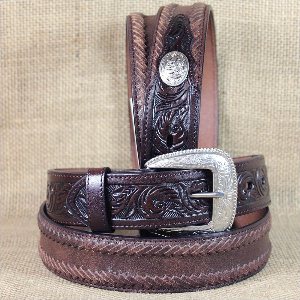 "34x1 1/2"" 3D DARK BROWN MEN WESTERN FASHION FLORAL LEATHER BELT REMOVABLE BUCKLE"