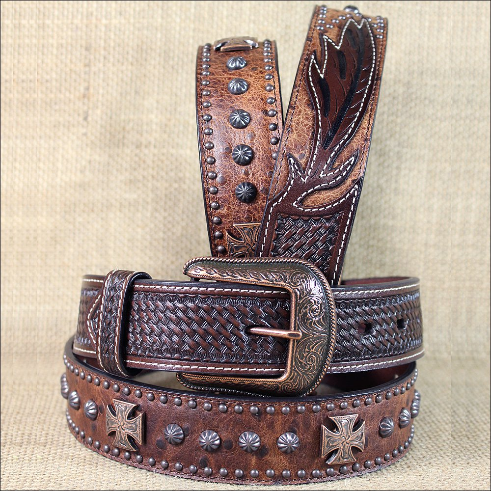 "34 X 1 1/2"" 3D CHOCOLATE BROWN MENS WESTERN FASHION CROSS CONCHO LEATHER BELT"