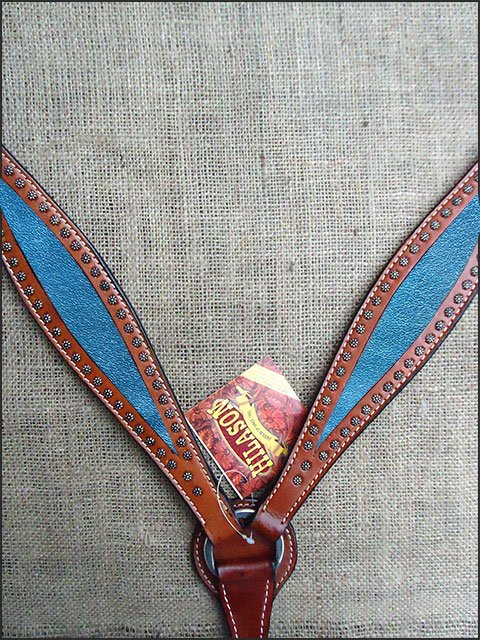 S- HILASON WESTERN LEATHER HORSE BREAST COLLAR MAHOGANY METALLIC TURQUOISE INLAY