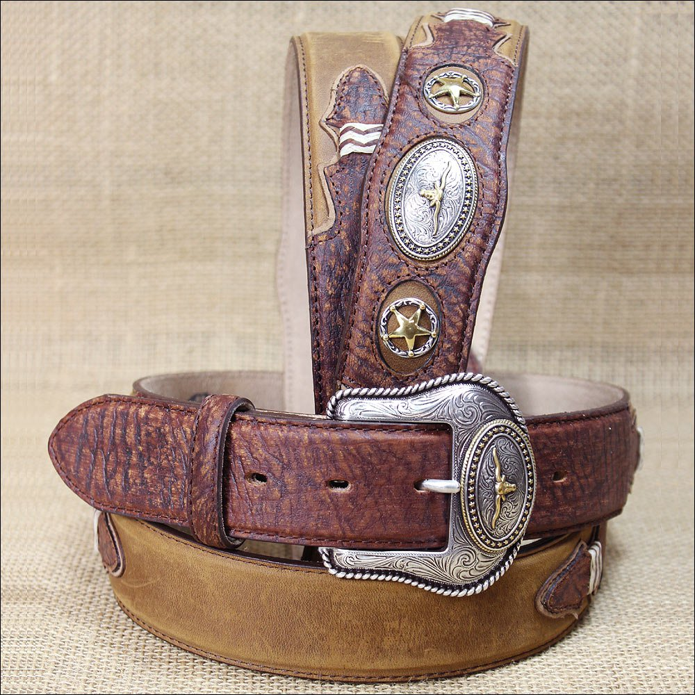 32 inch TONY LAMA WESTERN BROWN LEATHER PRIDE AGED BARK MEN BELT