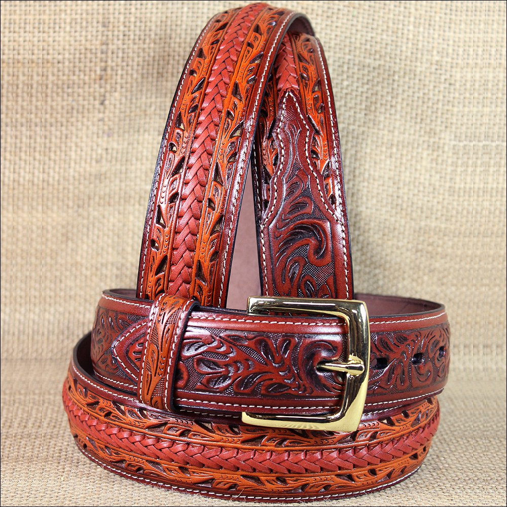 "44 X1 1/2"" 3D BROWN FLORAL MENS WESTERN FASHION LEATHER BELT REMOVABLE BUCKLE"