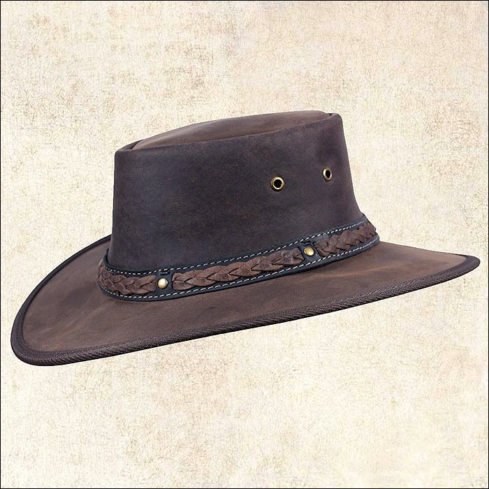 SMALL BARMAH SQUASHY BRONCO HAT FOLDABLE LEATHER UV WATER RESIST CHOCOLATE