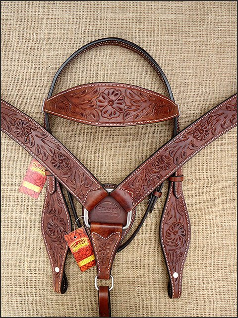 DARK BROWN HILASON WESTERN HAND TOOLED LEATHER HORSE BRIDLE BREAST COLLAR