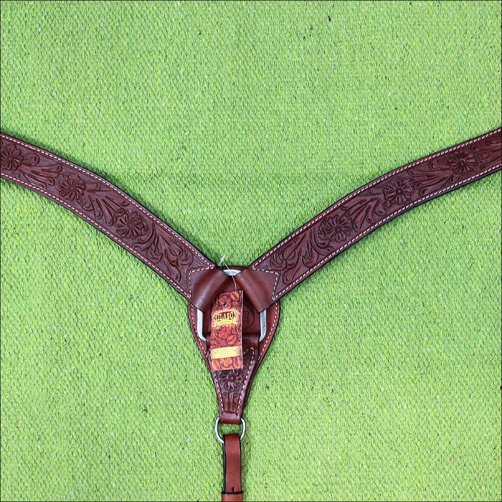 HILASON WESTERN LEATHER HORSE BREAST COLLAR MAHOGANY FLORAL CARVED