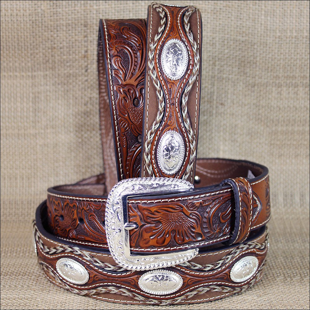 32 INCH WESTERN BROWN LEATHER MENS BELT FLORAL TOOLING  SCALLOPED OVERLAY