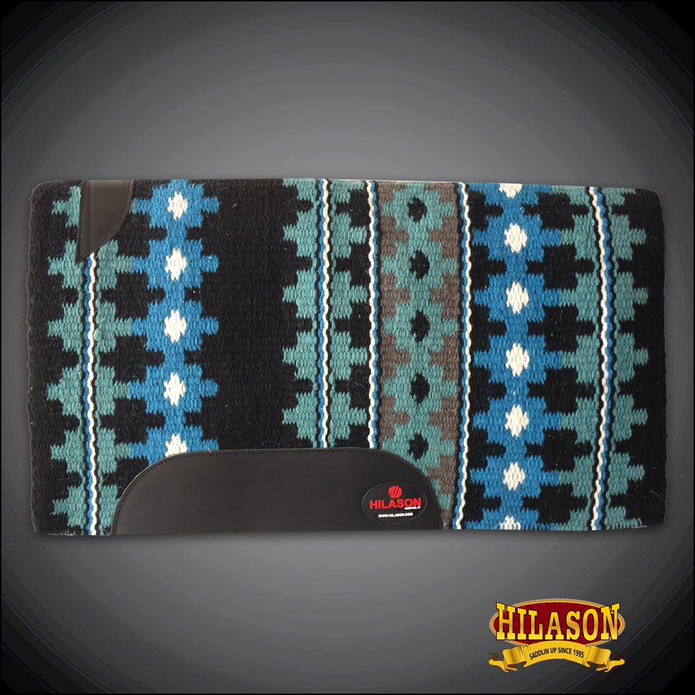 FE348-F HILASON 34X40 WESTERN NEW ZEALAND WOOL SADDLE BLANKET TURQUOISE