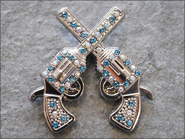 SET OF 2 CROSS GUN SHOOTING TURQUOISE RHINESTONE CRYSTAL CONCHO HEADSTALL TACK