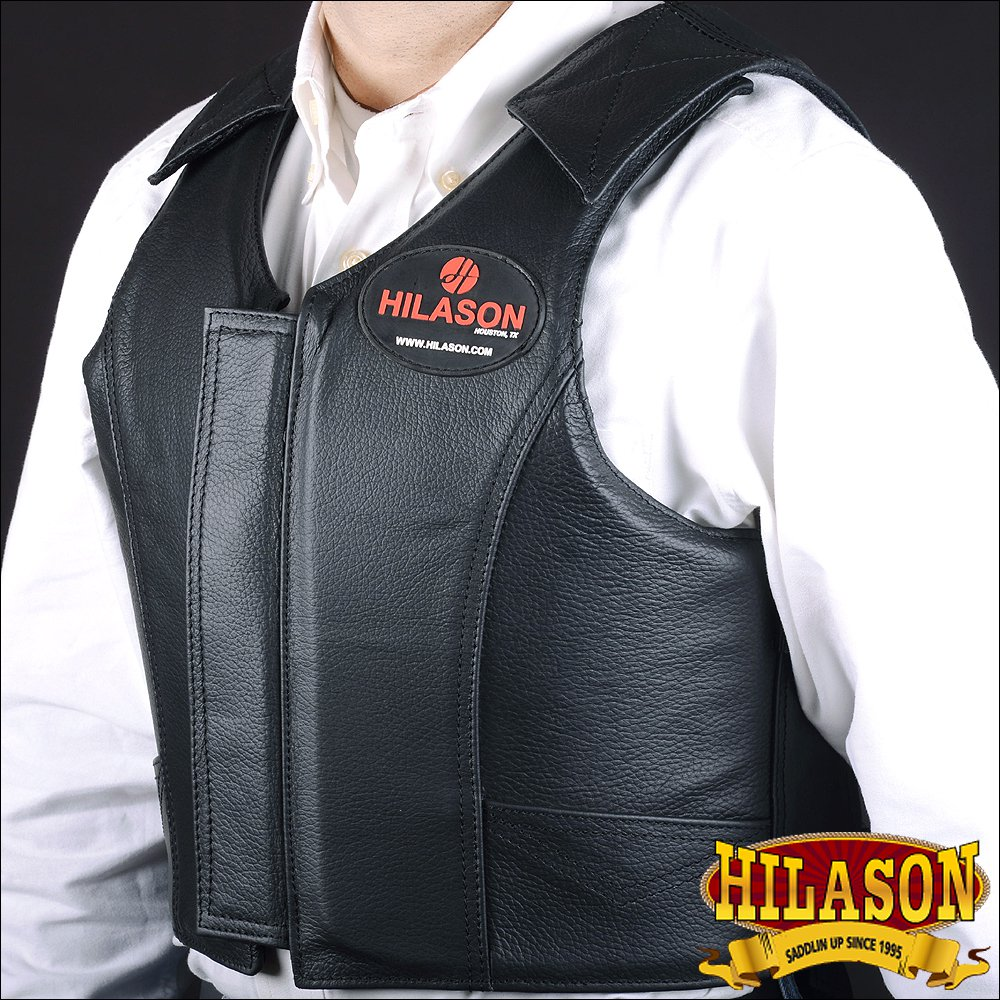 PV100-F HILASON LEATHER BAREBACK PRO RODEO BULL RIDING PROTECTIVE VEST - LRG