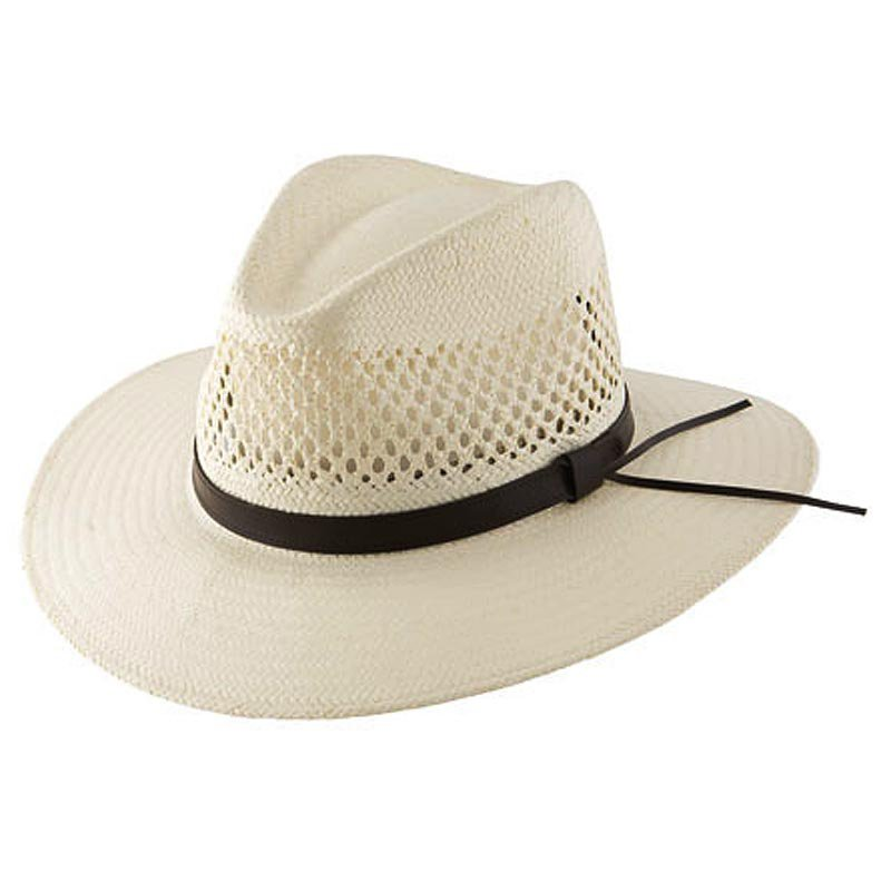 SMALL STETSON DIGGER NATURAL SHANTUNG STRAW HAT MADE IN USA LEATHER BAND