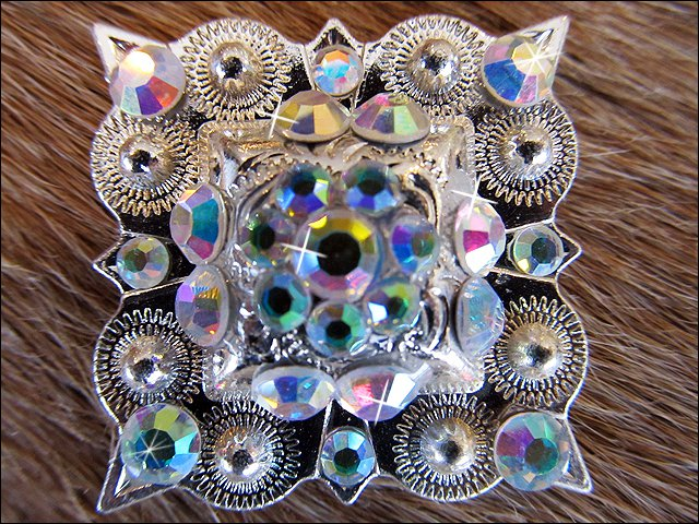 SET OF 2 SILVER FINISH AB STONE CRYSTAL RHINESTONE SQUARE CONCHOS HEADSTALL