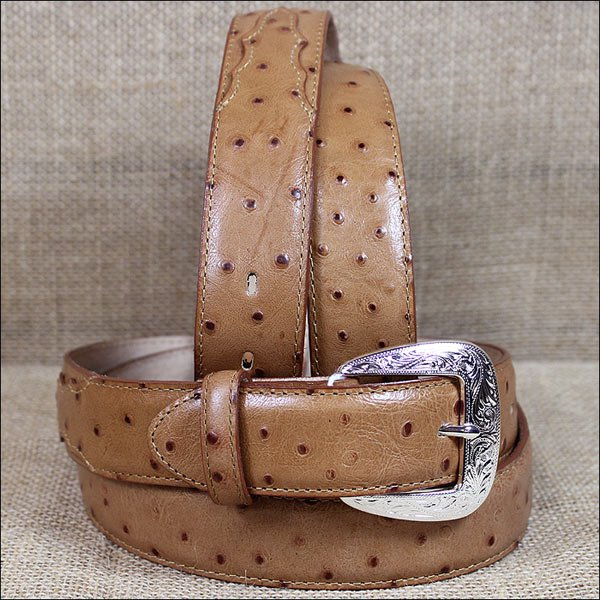 1377L 42 x 1 3/8 INCH TONY LAMA MEN'S TAN OSTRICH PRINT LEATHER DRESS BELT