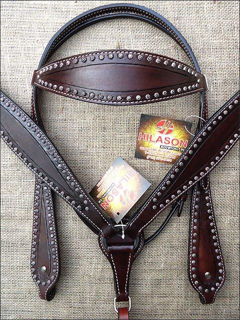 S463 HILASON WESTERN LEATHER HORSE BRIDLE HEADSTALL BREAST COLLAR - DARK BROWN