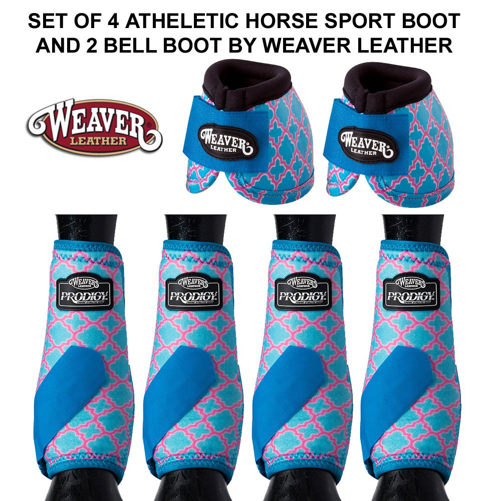 SET OF 4 BLUE QUATREFOIL ATHLETIC HORSE LEG BOOT AND 2 NO TURN BELL BOOTS WEAVER