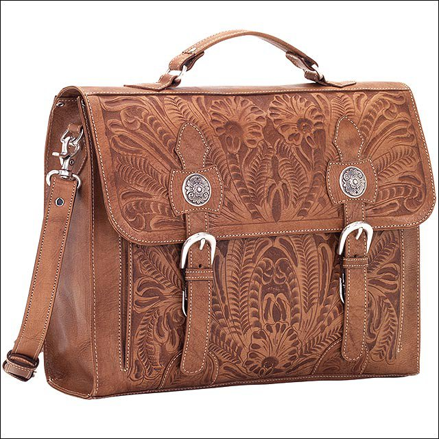 AW424 AMERICAN WEST TAN LEATHER BRIEFCASE LAPTOP BAG SHOULDER HANDBAG