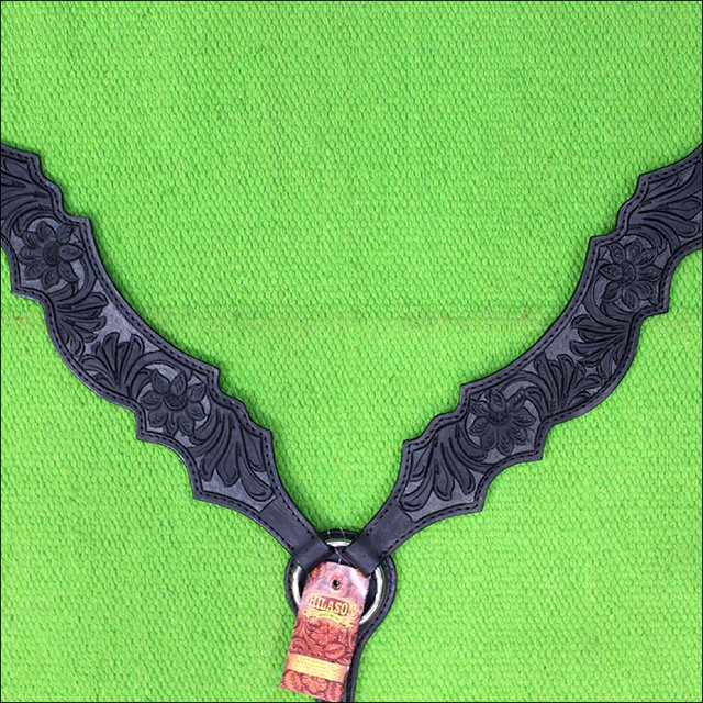 NEW HILASON WESTERN LEATHER HORSE BREAST COLLAR BLACK HAND CARVED