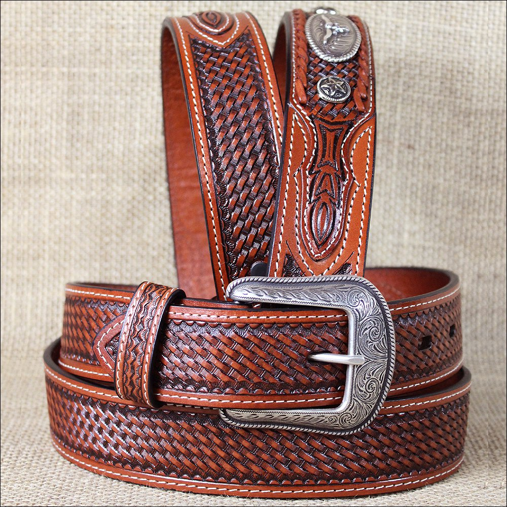 """44x1 1/2"""" 3D TAN MENS WESTERN FASHION LEATHER BELT REMOVABLE BUCKLE W/ CONCHO"""