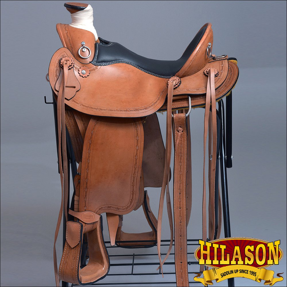 """BH103-F HILASON WESTERN LEATHER ROPING WADE COWBOY LIGHT WEIGHT RANCH SADDLE 16"""""""
