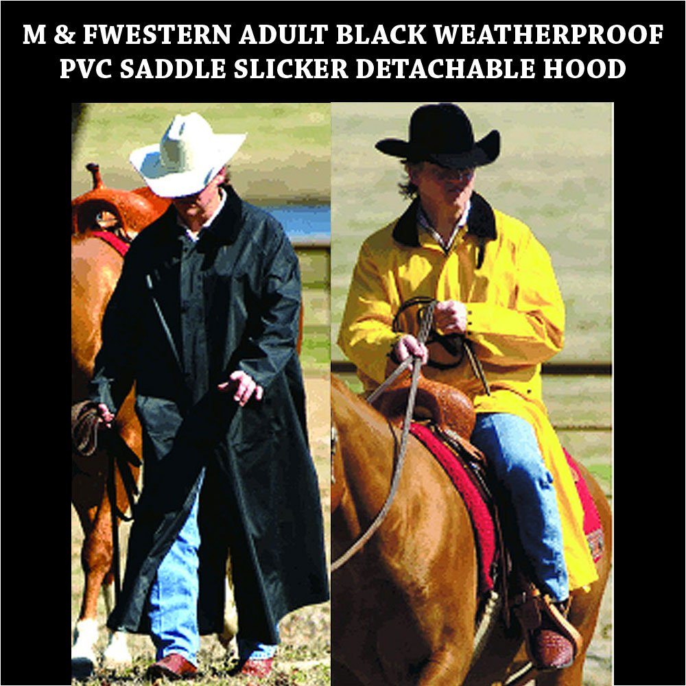 BLACK / YELLOW M&F WESTERN ADULT WEATHERPROOF PVC SADDLE SLICKER DETACHABLE HOOD