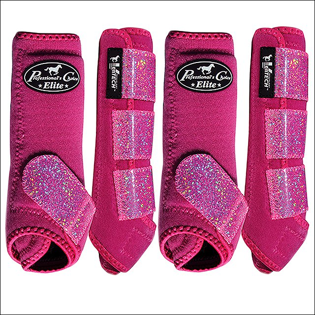 SML PROFESSIONAL CHOICE SPORTS MEDICINE HORSE LEG BOOTS 4 PACK GLITTER RASPBERRY
