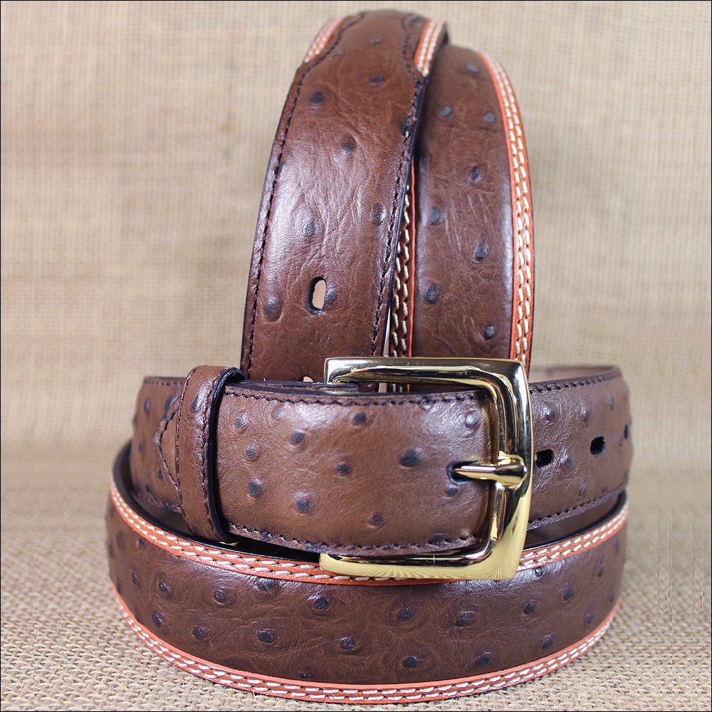 "32X1 1/2"" 3D BROWN MENS DRESS OSTRICH PRINT LEATHER BELT REMOVABLE BRASS BUCKLE"