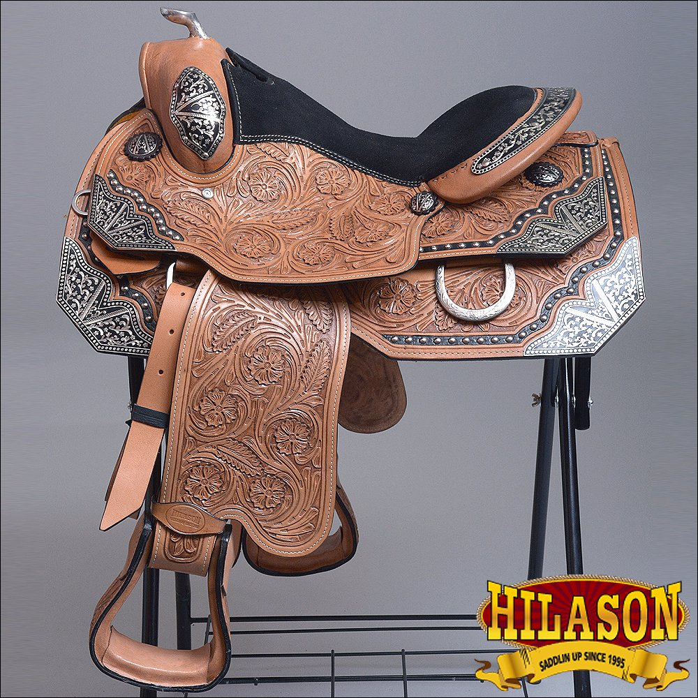 BH118-F HILASON WESTERN LEATHER EQUITATION HORSE SHOW TRAIL PLEASURE SADDLE 16""