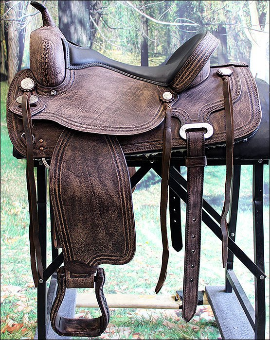 "TO105RO HILASON TREELESS WESTERN LEATHER TRAIL BARREL RACING SADDLE 15"" 16"" 17"""