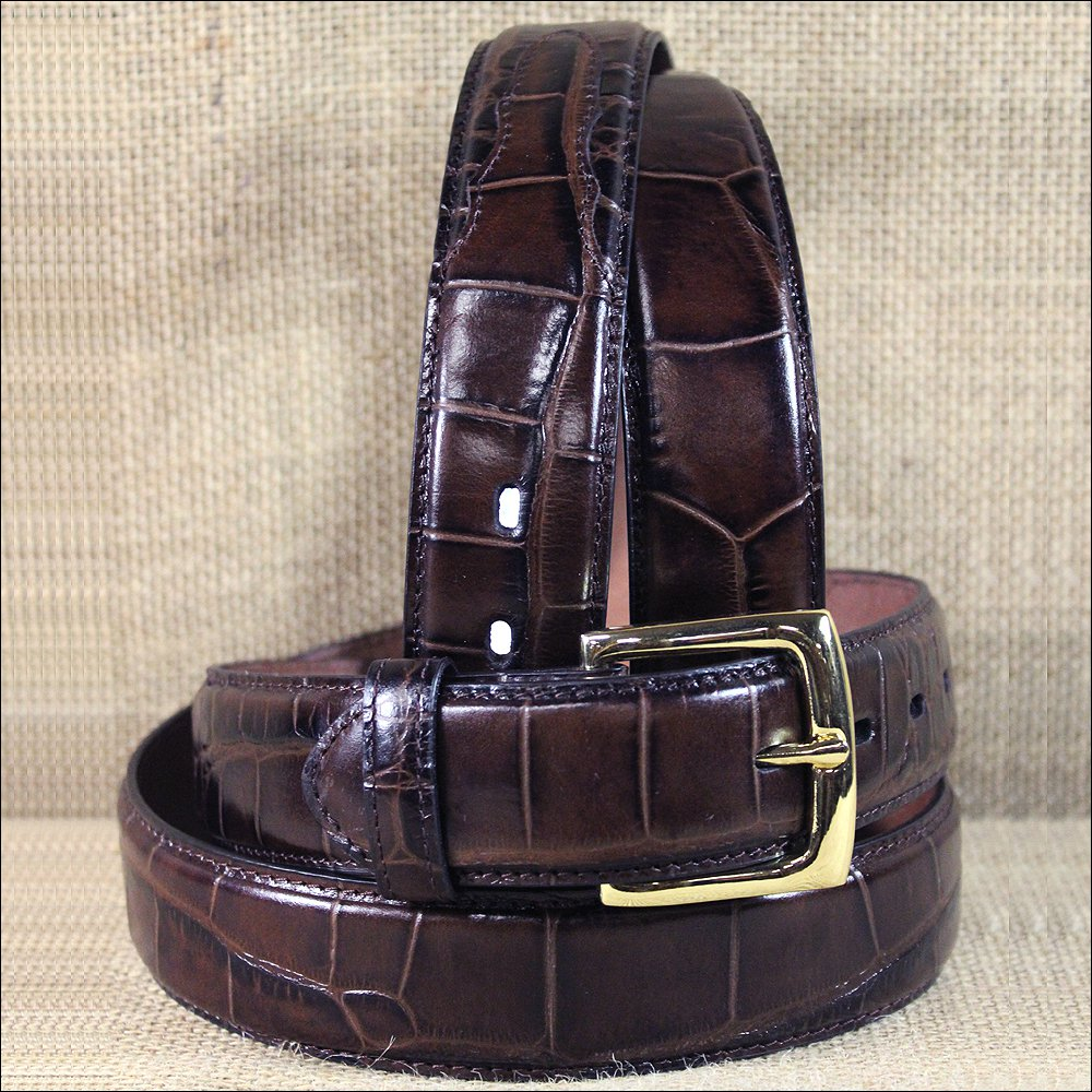 "30 X 1 1/2"" 3D BROWN MENS DRESS GATOR PRINT LEATHER BELT REMOVABLE BRASS BUCKLE"