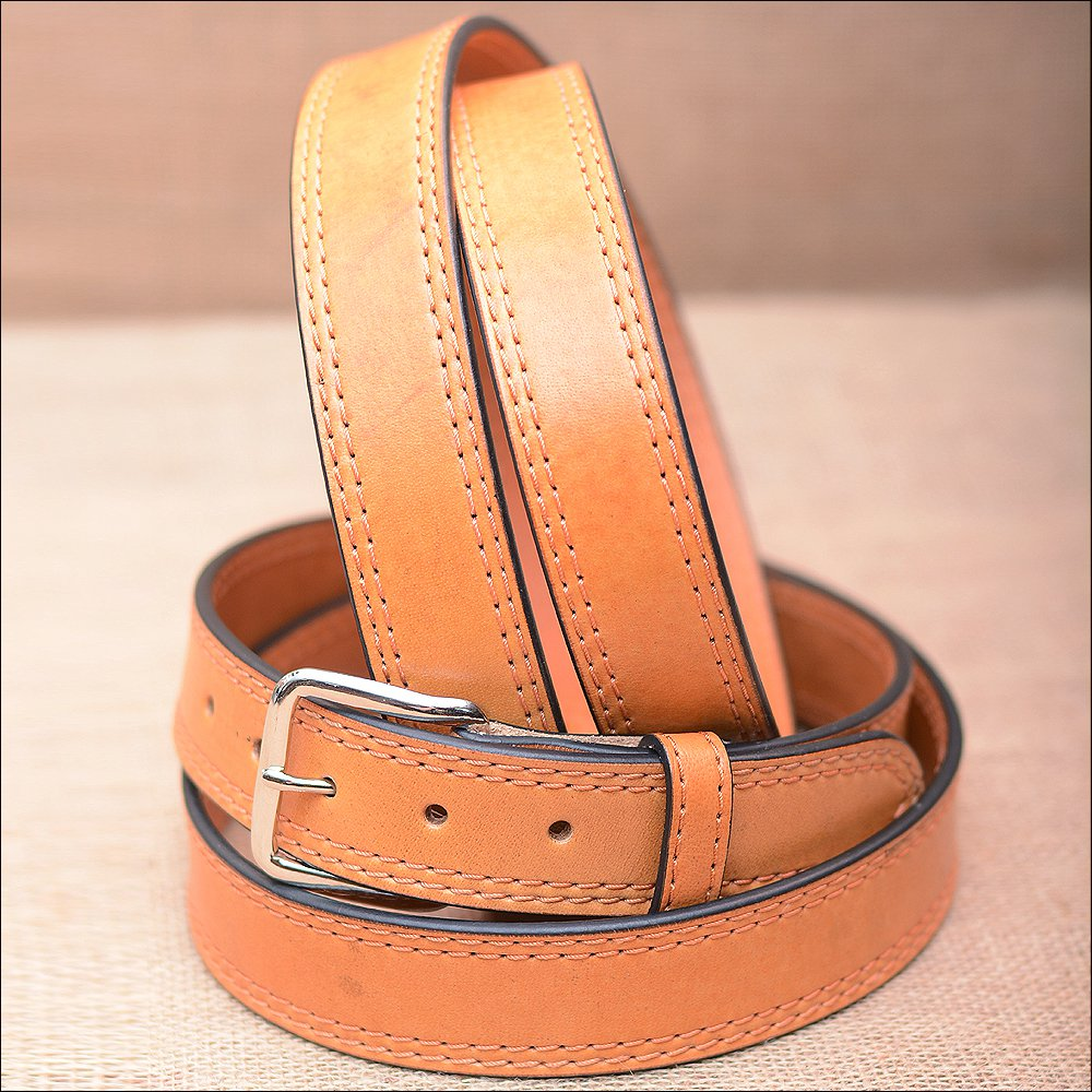 "32"" HILASON HAND MADE HEAVY DUTY BUFFALO HIDE LEATHER STICHED BELT"