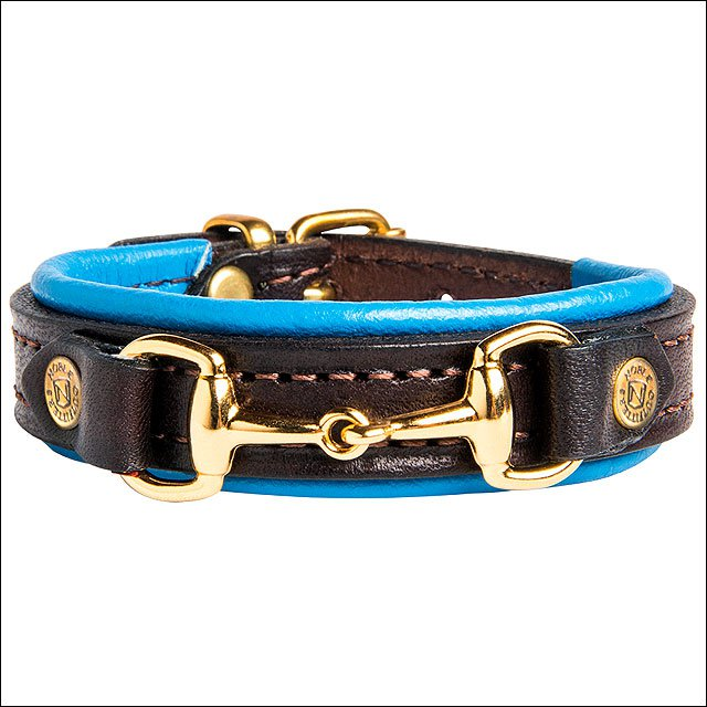 """8 3/4"""" NOBLE OUTFITTTERS ADJUSTABLE LEATHER ON THE BIT BRACELET BLUE RIBBON"""