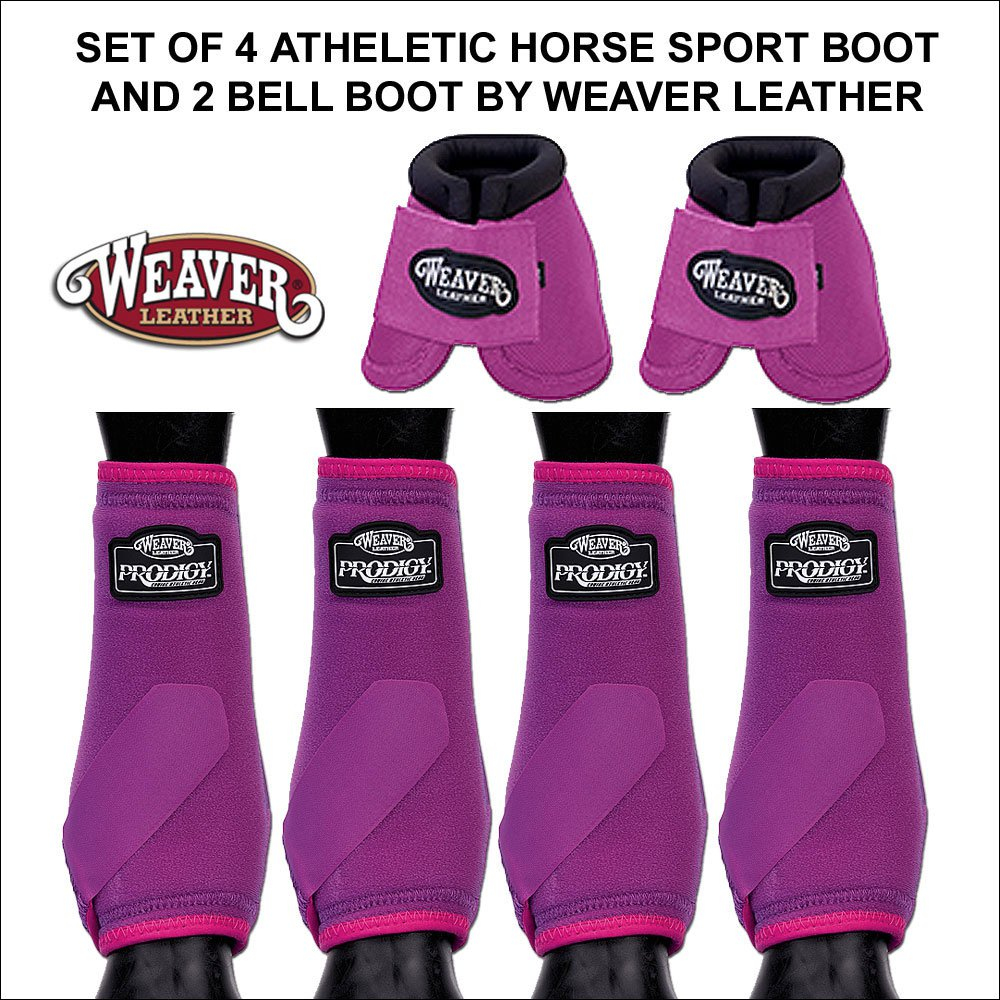 PINK MEDIUM WEAVER PRODIGY ATHLETIC HORSE LEG FRONT REAR BOOTS 4 PACK 2 BELL