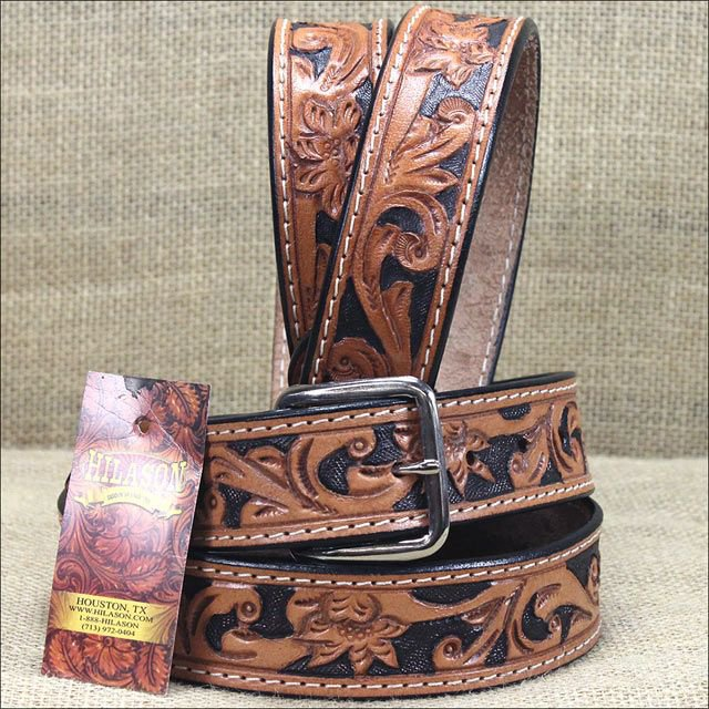 NEW HILASON HANDMADE FLORAL TOOL HEAVY DUTY WESTERN WORK LEATHER MENS BELT