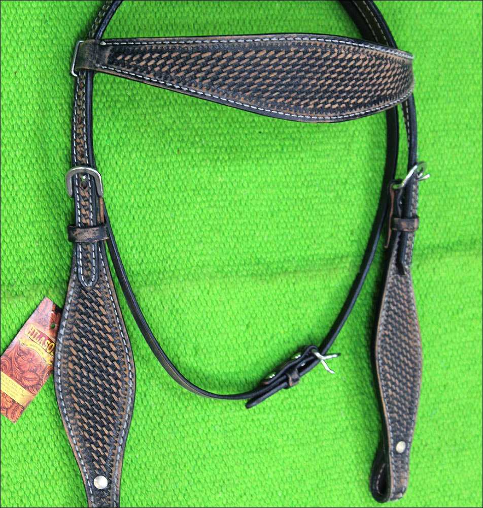 RO19 HILASON WESTERN LEATHER HORSE HEADSTALL BLACK RUSTIC VINTAGE
