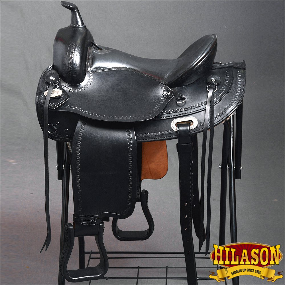 DF200BK-F HILASON WIDE GULLET OR DRAFT HORSE WESTERN TRAIL ENDURANCE SADDLE 16""