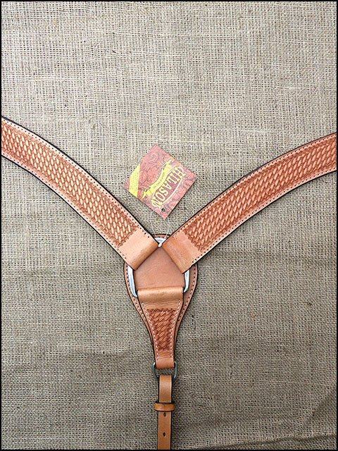 S319 HILASON WESTERN HAND BASKET WEAVE LEATHER HORSE BREAST COLLAR TAN