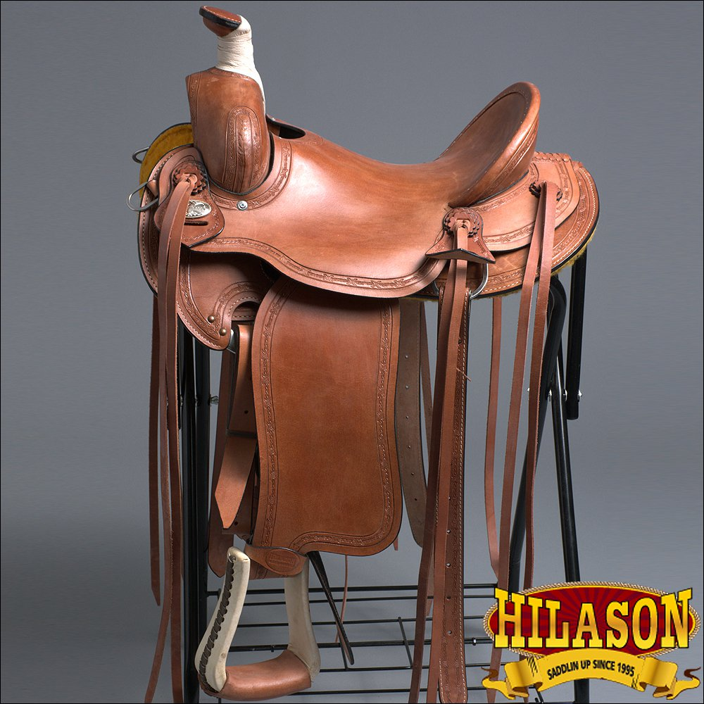 "RS106M-F HILASON ""BIG KING Series"" WESTERN WADE RANCH ROPING COWBOY SADDLE 16"