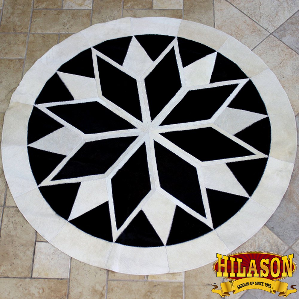 HS1148-F HILASON PURE BRAZILIAN COWHIDE HAIR ON LEATHER PATCHWORK 3D ROUND RUG