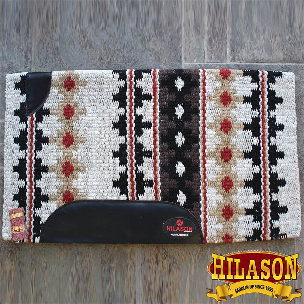 FE353-F MADE IN USA HILASON WESTERN WOOL FELT SADDLE BLANKET PAD OFF WHITE BLACK