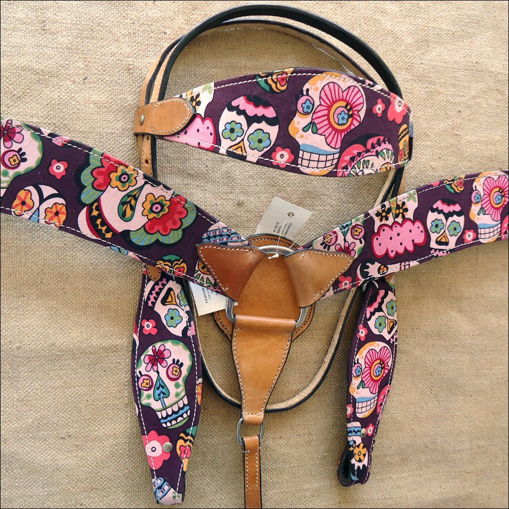 T67 WESTERN LEATHER HORSE BRIDLE HEADSTALL BREAST COLLAR SET FUN PRINT