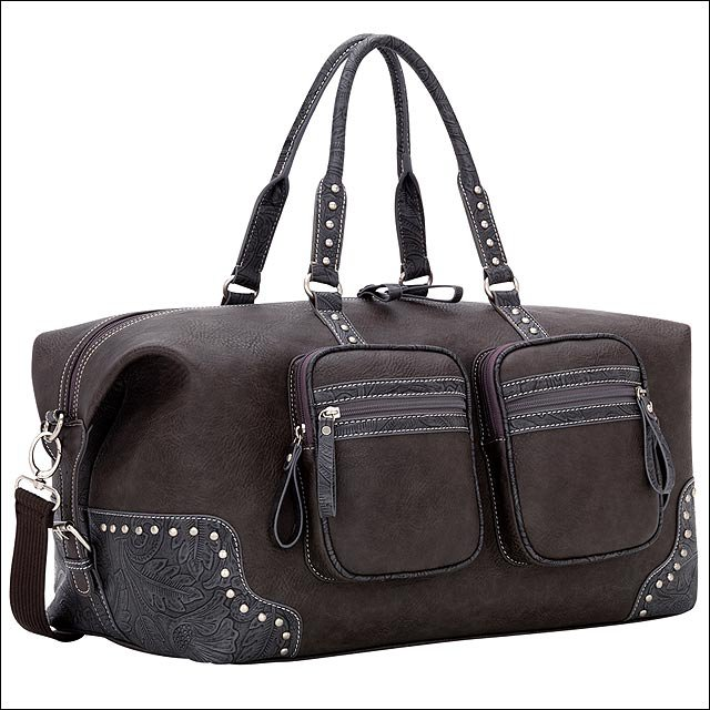 AMERICAN WEST LEATHER BANDANA LAKE TAHOE CARRY ALL TRAVEL LUGGAGE BAG CHARCOAL