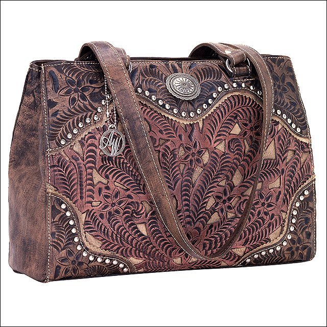 AMERICAN WEST TOOLED LEATHER ROSEWOOD LADIES TOTE SHOULDER HAND BAG PURSE