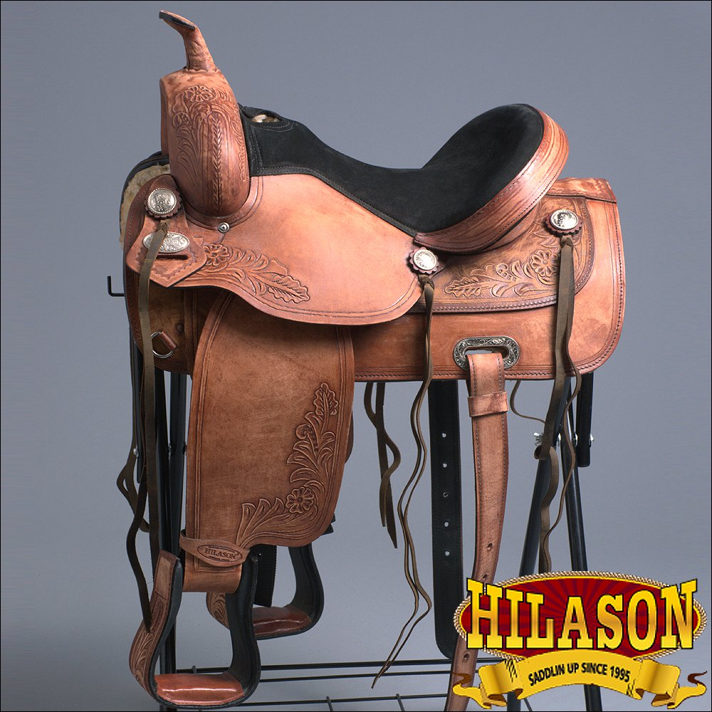 "TO107RO- HILASON TREELESS WESTERN BARREL RACING TRAIL RIDING SADDLE 15"" 16"" 17"""