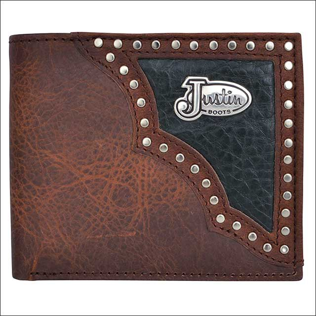 JUSTIN BROWN DISTRESSED LEATHER TRIM WESTERN RODEO MENS WALLET W/ BLACK INLAY