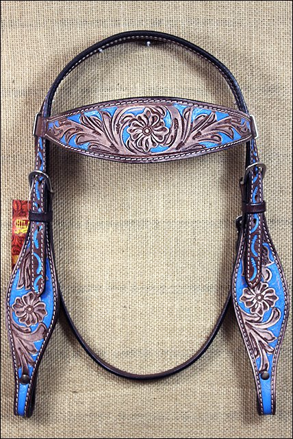 HILASON WESTERN LEATHER HORSE BRIDLE HEADSTALL BROWN TURQUOISE RUSTIC VINTAGE